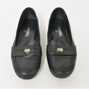 Chanel Penny Loafers Black Leather CC Heel